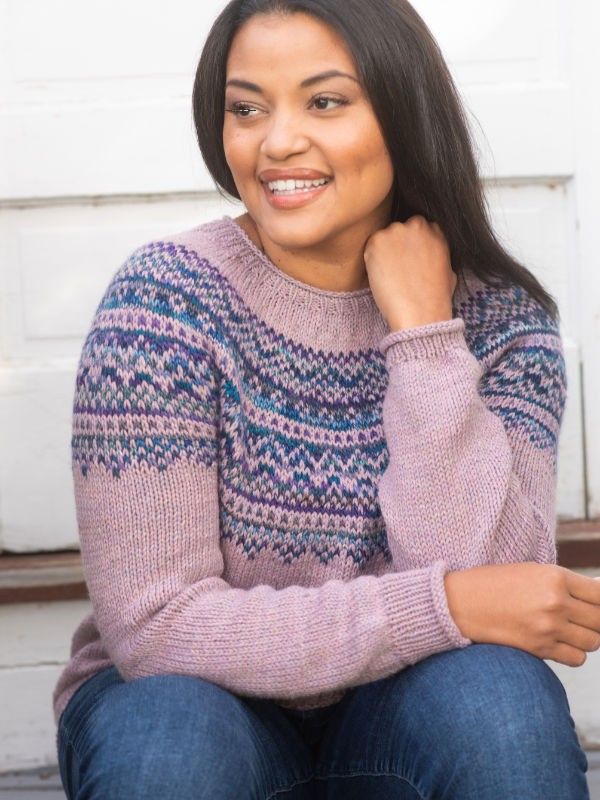 Knit pullover Langley with gorgeous colorwork yoke. Free pattern.