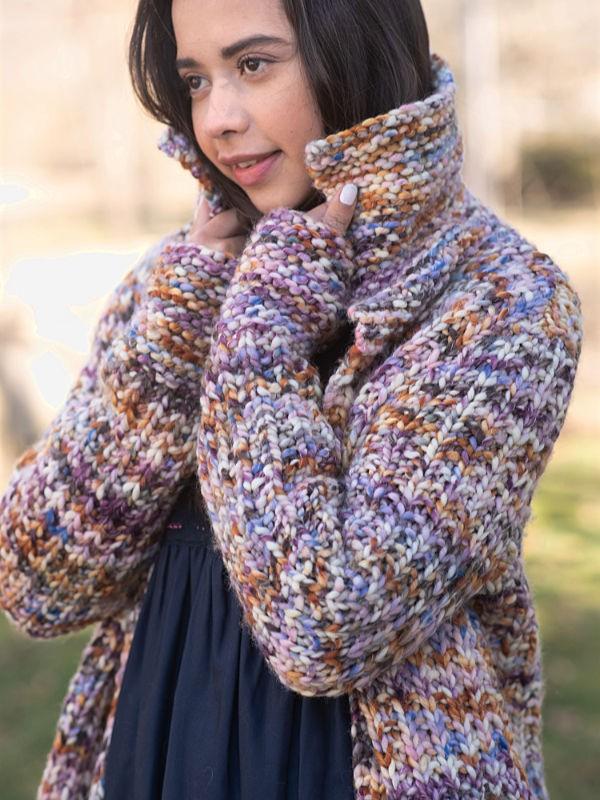 Сhunky cardigan Bingen. Knitting pattern free download.