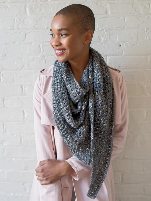 Asymmetrical lace shawl Rochambeau. Free knitting pattern.