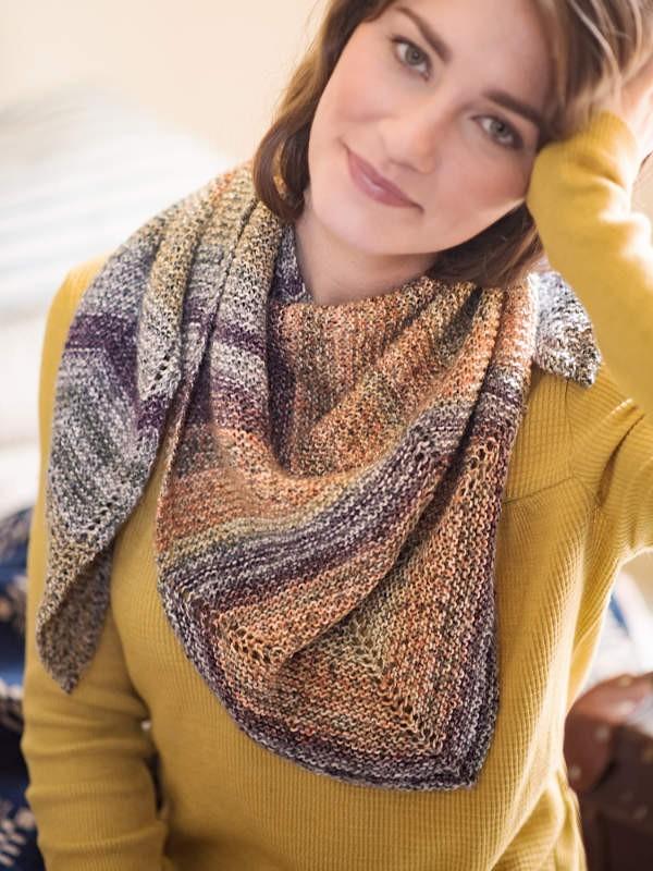Colorful shawl Rockstead. Free knitting pattern.