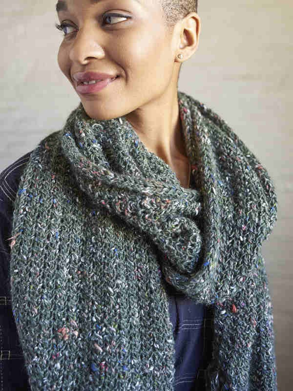Knit easy textured scarf Vinton. Free pdf pattern.