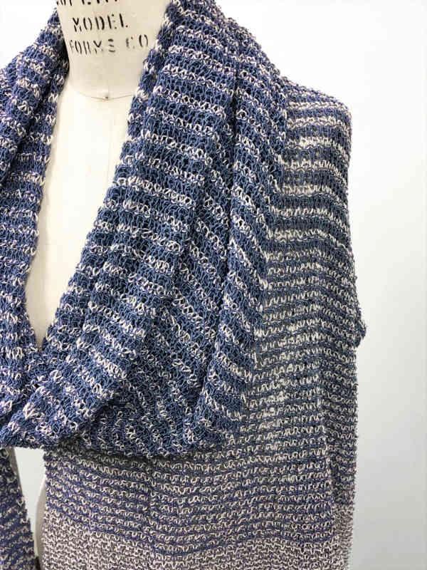 Knit long asymmetrical wrap Sycorax. Free pdf pattern.