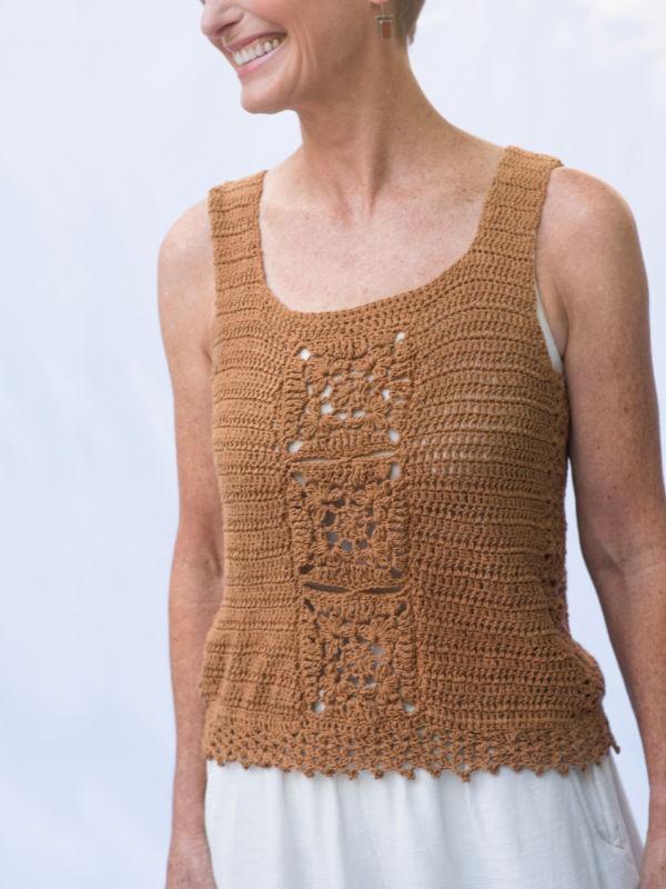 Lovely lace top Billerica. Free crochet pattern.