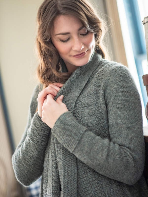 Ultra cozy cardigan Draw with oversized shawl collar. Free knitting pattern.