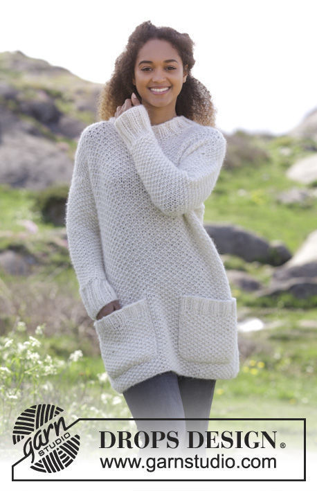 Adults and teen knit pullover Walk in the Park. Free easy pattern (pocket).