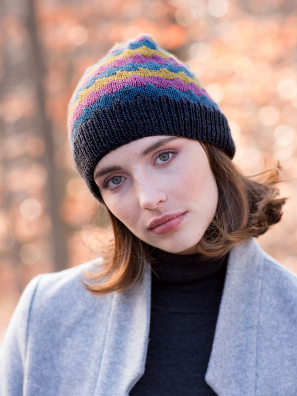 Adults colorful beanie hat Giedi. Free slipped stitch pattern for knitting.