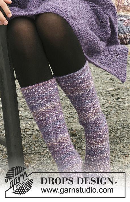 Adults heel flap (socks knee highs) Orchid Warmth. Free knitting pattern (heel flap).