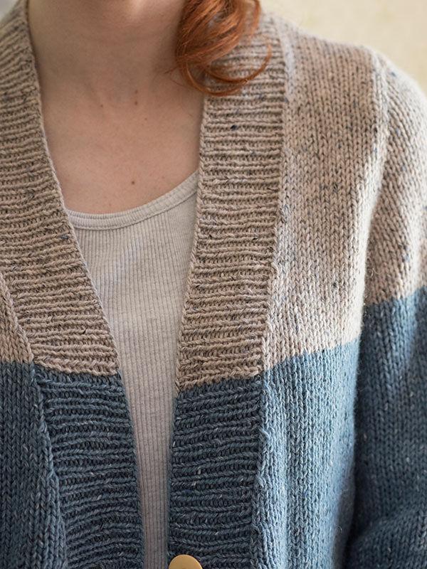 Adults V-neck cardigan Estuary. Free knitting pattern. 4