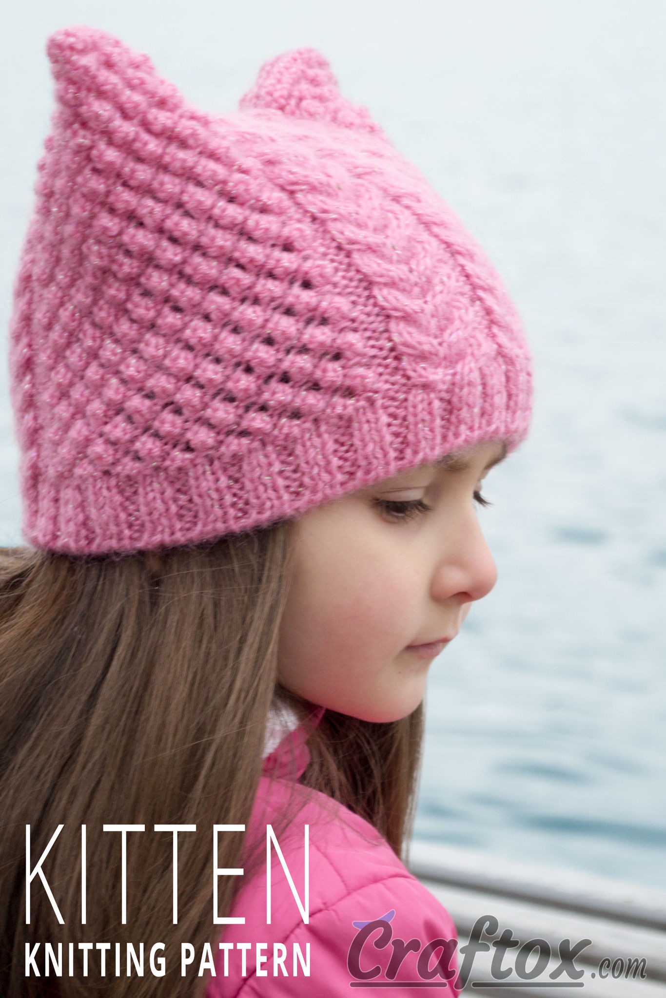 Knitting Pattern For Beanie With Ears : Aran (cables) cat ear beanie