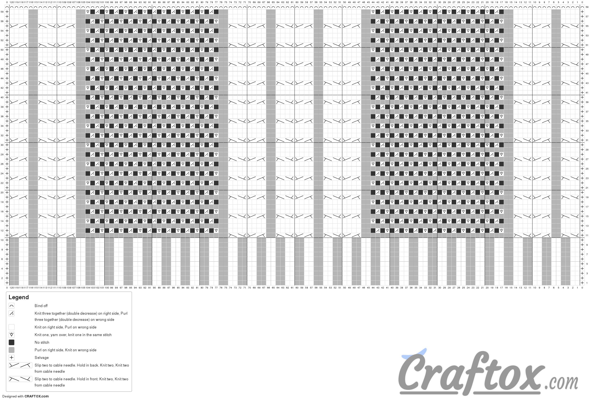 """Pattern chart: Aran (cables) cat ear beanie """"Kitten"""". Free knitting pattern."""