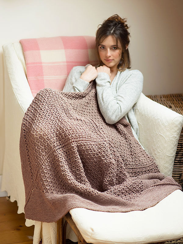 Blanket Blossfeldt. Free knitting pattern (shapes: square, lace,  in the round).
