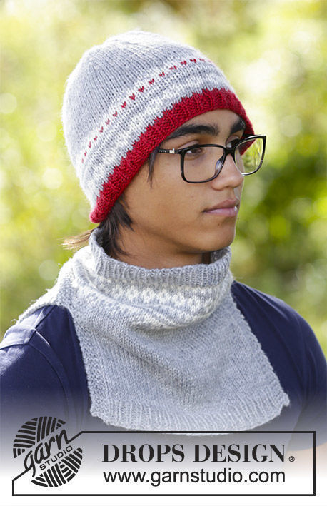Boys and men's knit collar Narvik Set. Free pattern.