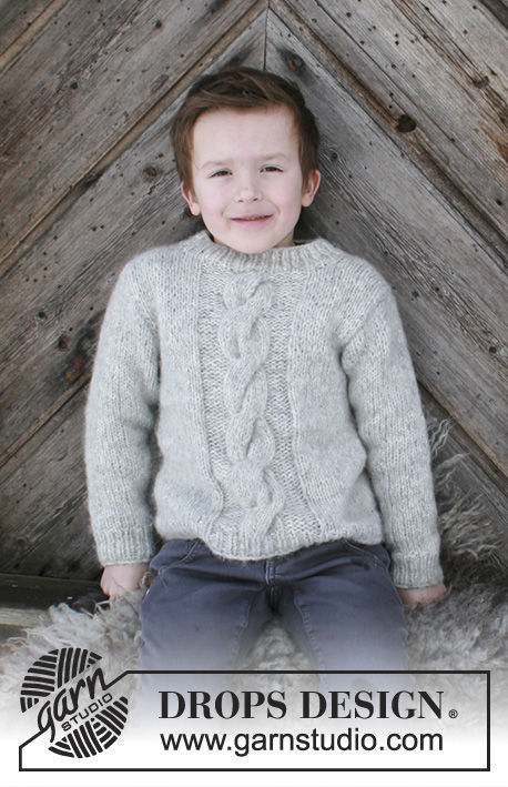 Boys (children, toddler) knit pullover Isak. Free pattern (cables).