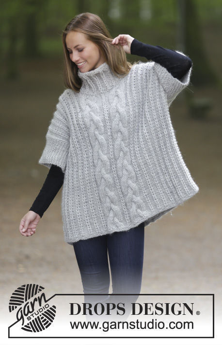 Cable knit jumper Winter Snuggle. Free pattern (English rib, kimono sleeve,high collar).