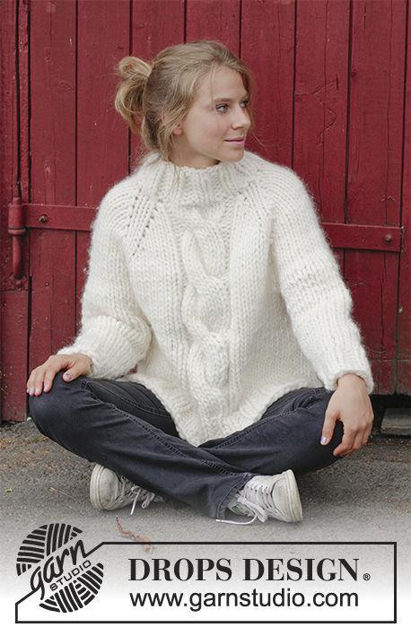 Cable knit sweater Mont Blanc. Written pattern (raglan, high collar, split in sides).