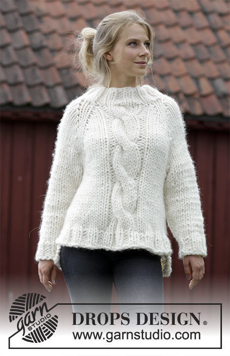 Cable knit sweater Mont Blanc. Written pattern (raglan, high collar ...