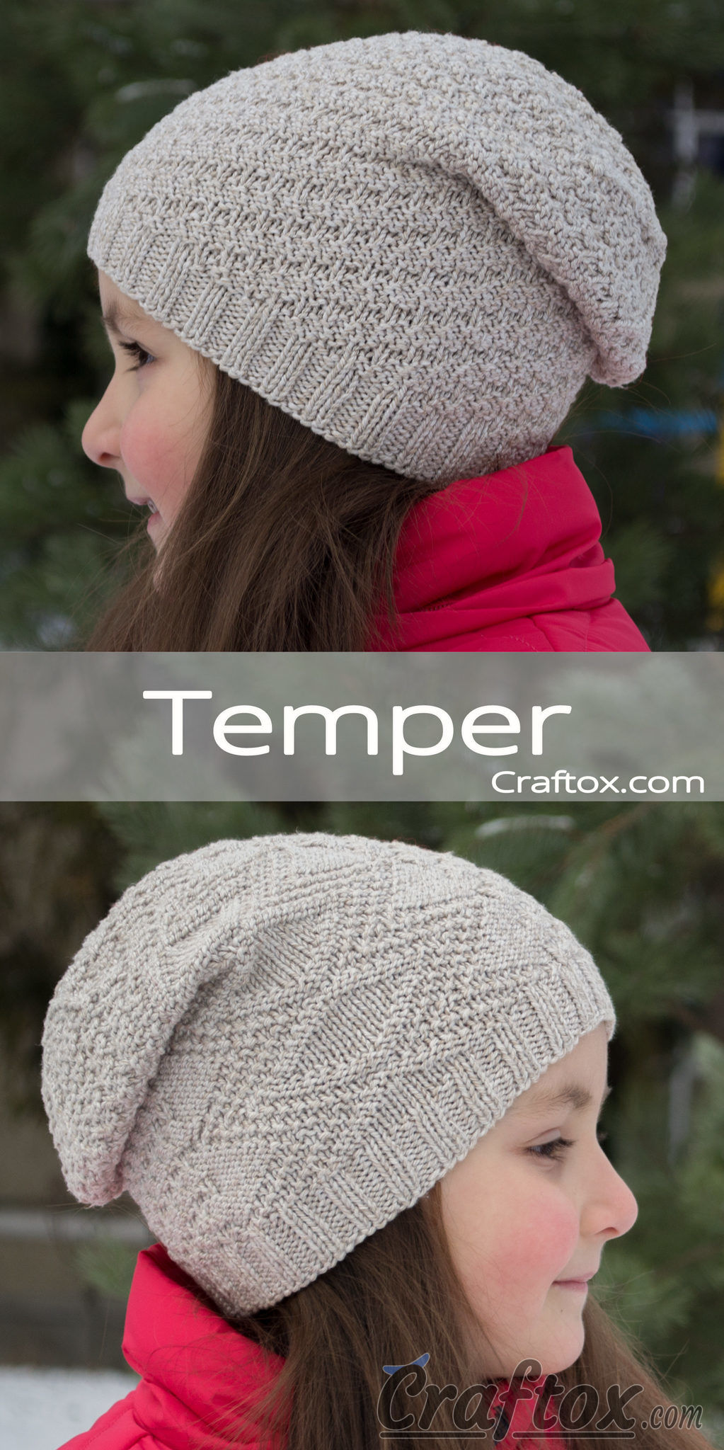 Knitting Patterns For Beginners Beanie : Childs slouchy beanie hat -