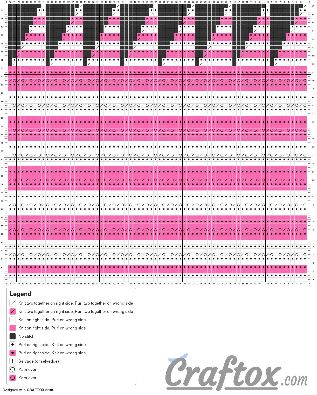 "Pattern chart: Color stripe beanie hat ""Duet"" (knitting)."