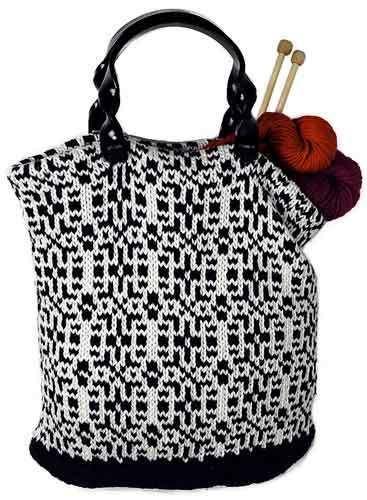 Cosmopolitan tote Puzzle Bag . Free knitting pattern.