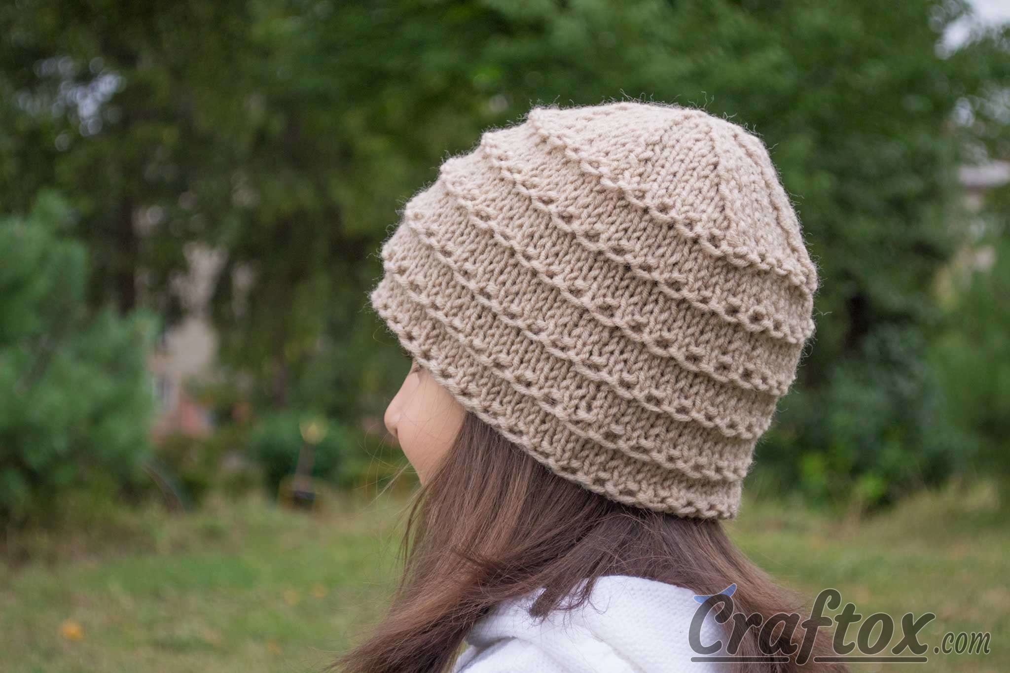 Pattern For Infinity Scarf Knit : Easy beanie knitting pattern. Free.
