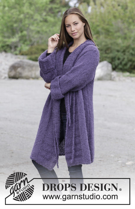 Easy girls and women's coat (jacket) Nonchalant. Free knitting pattern.