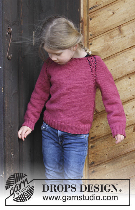 Easy girls (toddler, children) pullover Cherry Cuddler. Free knitting pattern (cables).