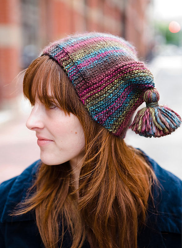Easy knitting pattern for tassel hat Gamut. (Adult, teen, unisex).