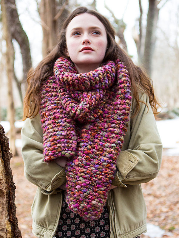 Easy scarf Wood Lily. Knitting pattern free download (Shapes: rectangle).