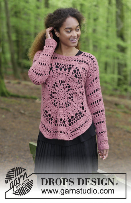 Easy teen and adults pullover Flowering Heart. Free crochet pattern (worked in the round).