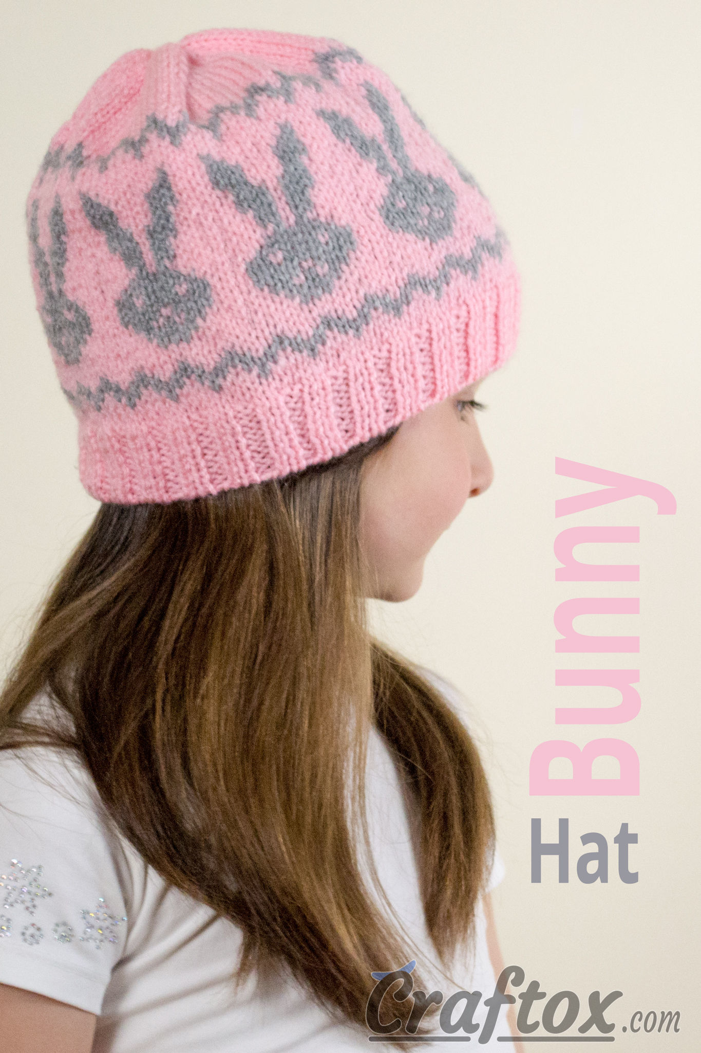 Free bunny hat knitting pattern (Fair Isle / Jacquard)
