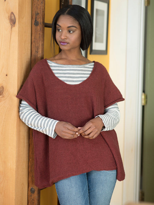 Free knitting pattern for simple oversized tee Cora.