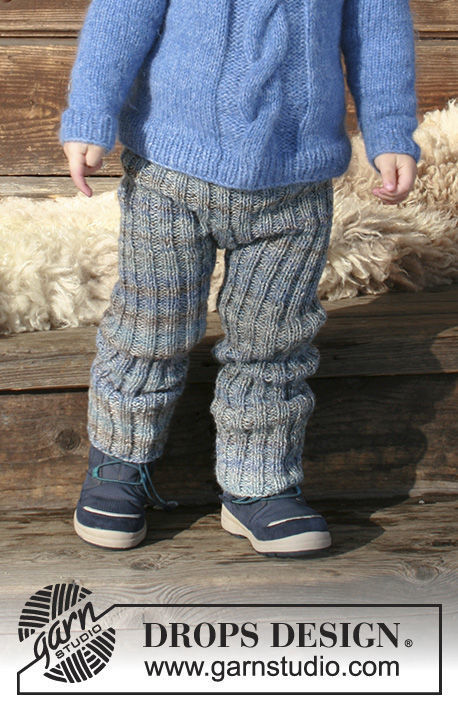 Girls and boys (children, toddler) knit pants Winter Wolf. Free easy pattern.