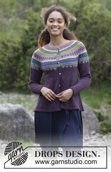 Girls and women's cardigan Blueberry Fizz Jacket. Free knitting pattern (norwegian).