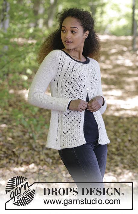 Girls and women's cardigan Winter Grace Jacket. Free knitting pattern.