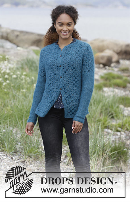 Girls and women's knit cardigan Song of the Sea. Free pattern (raglan; lace).