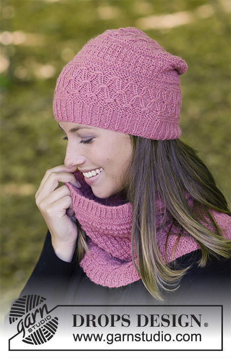 Girls and women's knit collar Raspberry Truffle. Free pattern (ribbed ribbing, smocked).