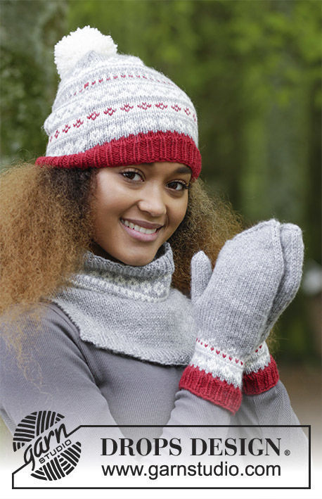 Girls and women's knit mittens Narvik Set. Free easy pattern.