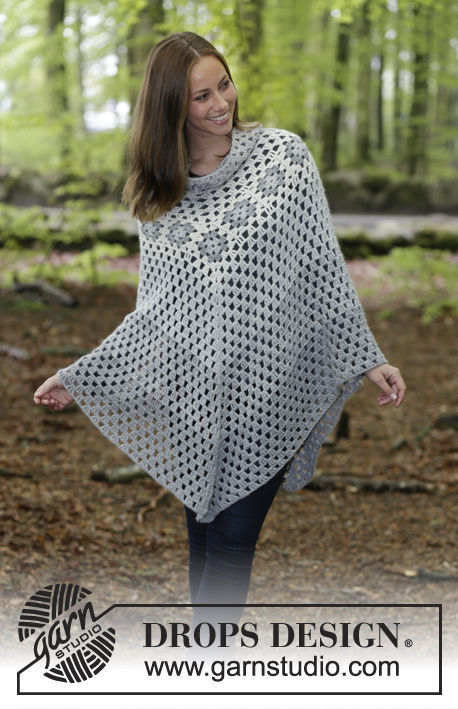 Girls and women's poncho Hygge. Free crochet pattern (worked in the round, granny square).