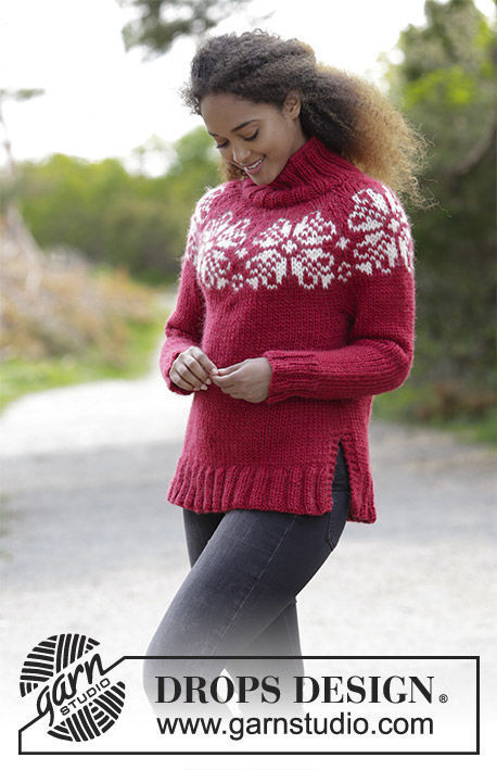 Girls and women's pullover Julerose. Free knitting pattern (has schematic, video tutorial).