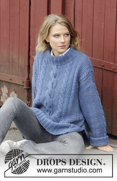 Girls and women's pullover Midnight Cables. Free knitting pattern (has schematic).