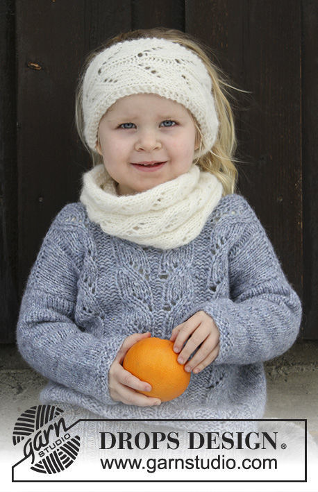 Girls (children, toddler) knit headband Eirlys. Free pattern (lace).