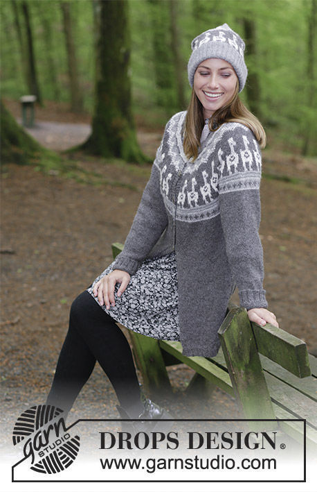 Girls (teen) and women's cardigan Andean Caravan Jacket. Free knitting pattern.