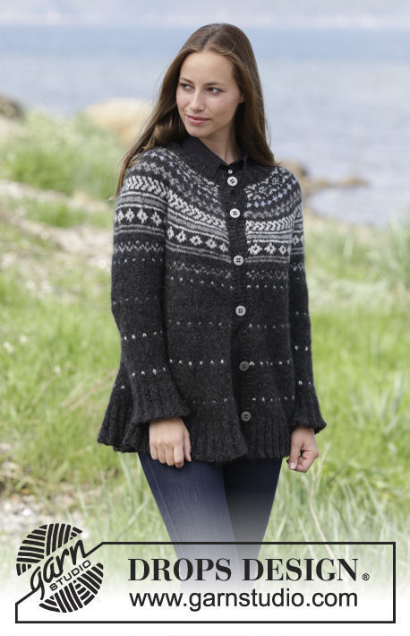 Girls (teen) and women's knit cardigan Night Shade Jacket. Free pattern (collared).