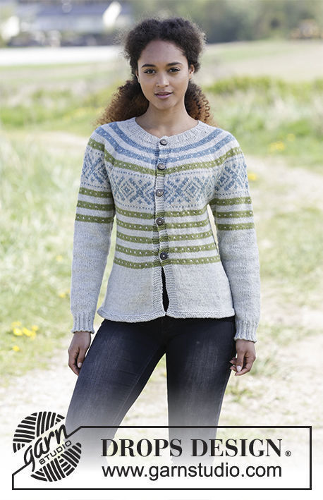 Girls (teen) and women's knit cardigan Nova Scotia. Free pattern (norwegian).