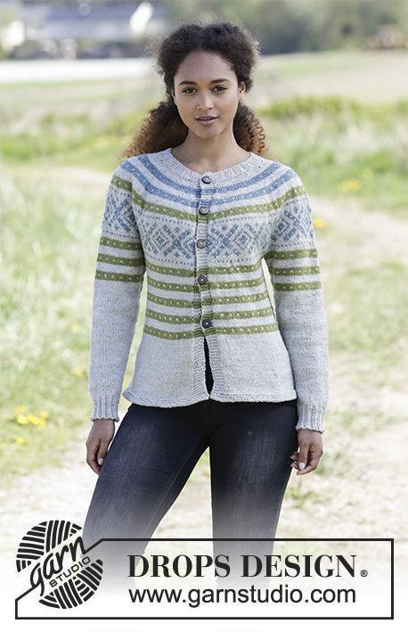 Girls (teen) and women's knit cardigan Nova Scotia. Free pattern (norwegian).