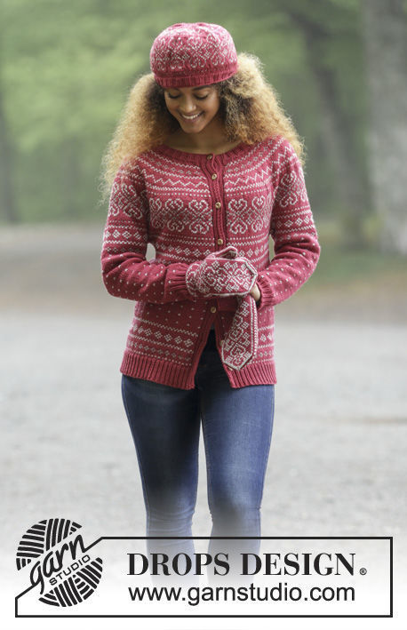 Girls (teen) and women's knit cardigan Rosendal. Free pattern (norwegian).