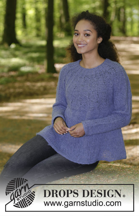 Girls (teen) and women's knit pullover Fleur de Lavande. Free pattern.