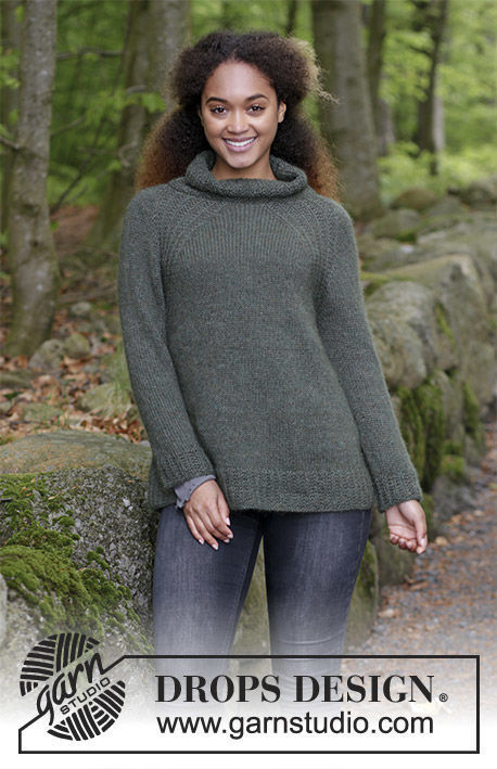 Girls (teen) and women's knit pullover Woodland Walk. Free pattern (Neck: cowl; textured).
