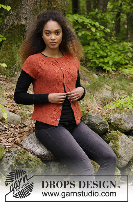 Girls (teen) and women's knit vest Autumn Vines Top. Free pattern (lace).