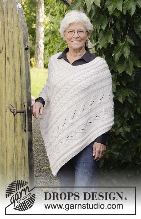 Girls (teen) and women's poncho Winter's Heart. Free knitting pattern (cables).
